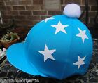 Lycra Hat Silk Skull cap Cover TURQUOISE * DOUBLE WHITE STARS * WithOR w/oPompom