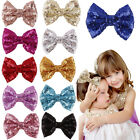 Lovely Baby Girl Sequin Fashion Handmade Hair Bow With Clip For Girls Hot 3TG