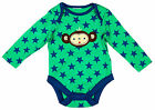 Boys Baby Monkey Motif Stars Bodysuit Long Sleeve Top 9-12 Months SALE