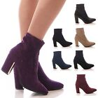 LADIES WOMENS ANKLE BOOTS STRETCH HIGH BLOCK HEEL POINTY CASUAL SHOES SIZE 3-8