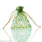 Wholesale 10cmx12cm Green Flower Gift Bags Pouches Wedding/Christmas Gift Favor