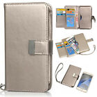 Grey Luxury New Flip Magnetic Card Wallet Leather Case Cover For Various Phones