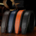 Mens Belts Genuine Fashion Automatic Crocodile Leather Belt Buckle Waist Stra 1X
