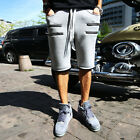 ByTheR Solid Gray Poly Neoprene Urban Casual Zipper Line Waist Banding Shorts CA