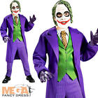 Deluxe The Joker Fancy Dress Batman Villian Boys Halloween Kids Costume + Mask