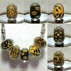 1 X Black/Ochre Leopard/Paw/Snake/Pattern Facetted Animal/Insect European Charm