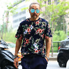 ByTheR Urban Black Stylish Vacation Casual Floral Pattern Short Sleeve T-shirts