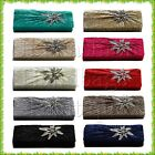 Satin Crystal Floral Pleated Metal Flower Evening Clutch Bag Wedding Party Prom