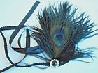 NEW FEATHER AND DIAMANTE  BLACK PLUME FLAPPER  TIE HAIR BAND