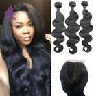 3 Bundles Body Wave Brazilian Human Hair Extensions With Lace Closure 4*2.8 9A