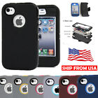For Apple Iphone 4 4s Shockproof Hybrid Hard Rugged Rubber Belt Clip Cover Case
