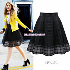 NEW Vintage Women Elastic High Waist Plain Skater Flared Pleated Skirt Dress 123