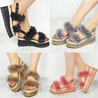 Womens Ladies Espadrille Flatform Faux Fur Wedge Sandal Summer Celeb Shoes Size