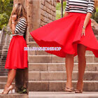 New Women High Waist Plain OL Flared Pleated Long Skirt A Line Midi Dress  #112