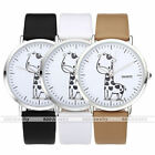Sketch Giraffe Pattern Silvery Case Faxu Leather Band Quartz Wristwatch Gift US