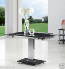 ENZA EXTENDING GLASS CHROME DINING ROOM TABLE ONLY -FURNITURE- 2 COLOURS-IJ811