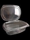 50 x CLEAR PLASTIC DISPOSABLE BOXES WITH LID 115mm x 151mm SALAD FOOD FISH
