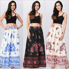 New Women Floral Printed Bohemian Chiffon Printed Skirt Floral Floral Long Dress