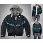 NWT ABERCROMBIE & FITCH MENS CLASSIC BASEBALL HOODED JACKET COAT NAVY SIZE M A&F