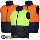 Mens Hi Vis Puffer Vest Warm Safety Workwear Quilted Size S-5XL New Tradie 6HRPV