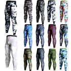 Mens Sports Workout Pants Compression Wear Base Under Layer Stretchy Tights Camo