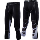 Mens Workout 3/4 Compression Pants Sports Baselayer Under Skin Tights Black Gym