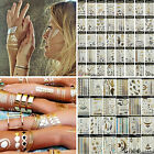 Multi Sheet Mix Temporary Tattoos Sticker Body Art Waterproof Gold Silver Tattoo