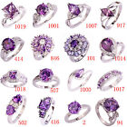 Clearance Sale Fashion Amethyst & White Topaz Gemstone Silver Ring Size 6-13