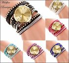 Ladies Large Face Quartz Bracelet Wrap Wrist Watch with Crystals & Gold Studs