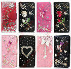 For Phones Luxury Bling Diamond Crystal Jewelled Leather Cards Wallet Case Cover