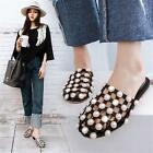 Women Flat Slipper Cut Out Fashion Ladies Sandal Pearl Summer Shoes Slippers New