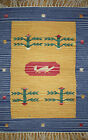 Kilim Cotton Rug Bird 4x6ft 120x180cm Blue Yellow hand woven Ethnic OX-8 Dhurrie