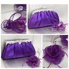 Purple Clutch Bag and Fascinator Set Occasion Wedding Prom Ladies Day Races UK