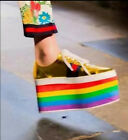 Womens Rainbow Colors Platform Shoes High Wedge Lace Up Heel Ankle Boots New 88