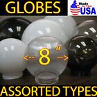 """ASSORTED 8"""" LIGHT GLOBES ACRYLIC SPHERES REPLACEMENT SHADE Plastic Globe COVERS"""