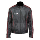 Men's Mass Effect 3 Commander Shepard N7 inspired Faux & Real Leather Jacket