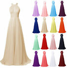 Formal Chiffon Evening Party Dress Long Halter Neck Wedding Prom Bridesmaid Gown