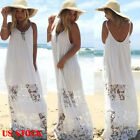 Boho Women Summer Beach Dress Kaftan Lace Sleeveless Party Maxi Long Sundress HX