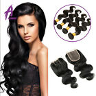 Indian Hair Human Hair Extensions Weave 3 bundles hair with closure US STOCK