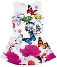 Girls Floral Diamond Butterfly Sleeveless Skater Style Sun Dress 3 to 12 Years