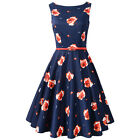 Rose Print Women Sleeveless Vintage Dress Audrey Hepburn Retro Dress with Belt