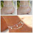 Solid 925 Sterling Silver Adjustable infinite layers crystal Anklet 9-10 inches