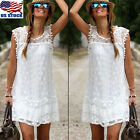 Women Summer Short Mini Dress Lace Floral Sleeveless Evening Party Sundress Us
