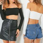 Long Sleeve T-shirt Strapless Party Bustier Crop Tube Top Elastic Summer Beach
