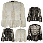 Womens Ladies Frill Long Sleeve Open Neck Lace Cardigan Bolero Shrug Blazer 8-14