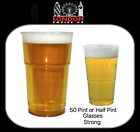50 Clear Plastic Pint - Half 1/2 Pint Beer Glasses Cups Disposable Strong NEW