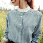 New Korean Style Fashion Cute Long Sleeve Striped Blouse 2017 Women Girl Shirts