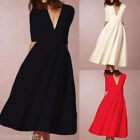 2017 Sexy Women Deep-V-Neck Solid Color Half Sleeve Cocktail Slim Dresses New HX