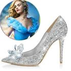 New Women's Cinderella Wedding Party Diamond Ladies' Pumps Crystal Shoes Shoes