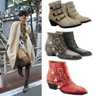 Womens Sinthetic Punk Studded Buckle Low Heel Rocker Cowboy Ankle Boots Shoes S7